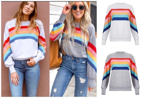 RAINBOW RIBBON STRIPE SOFT PULLOVER TOP PREORDER