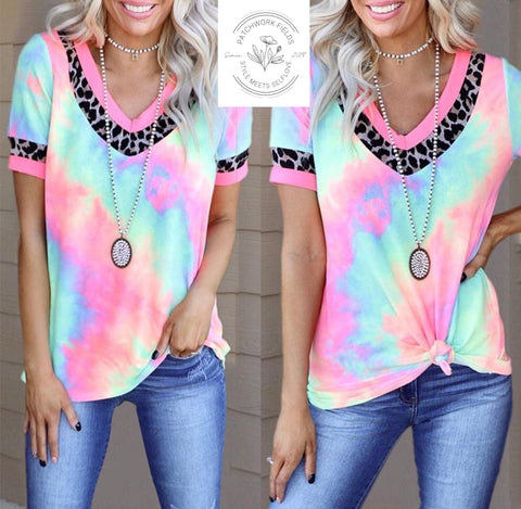 Tie Dye and Leopard V-Neck- Preorder