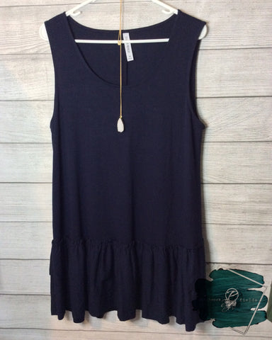 Curvy Ruffle Tank (Navy or Charcoal)