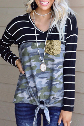 Striped Camo Knot Top