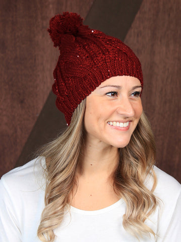 Touch of Sparkle Beanie in Red