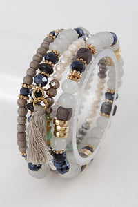 Natural Beaded Layered Bracelets
