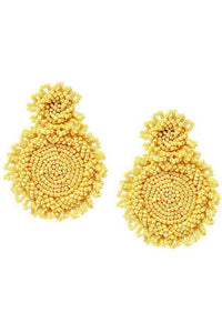 Beaded Double Disc Drop Earrings