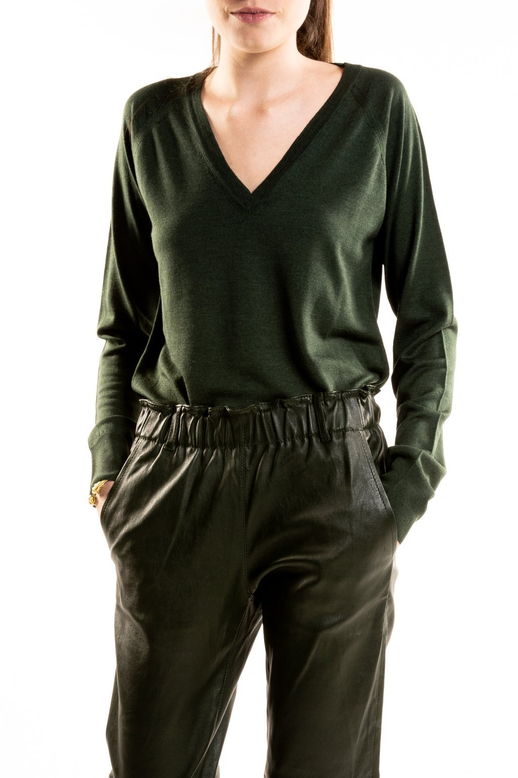V neck Wool Silk Forest Green