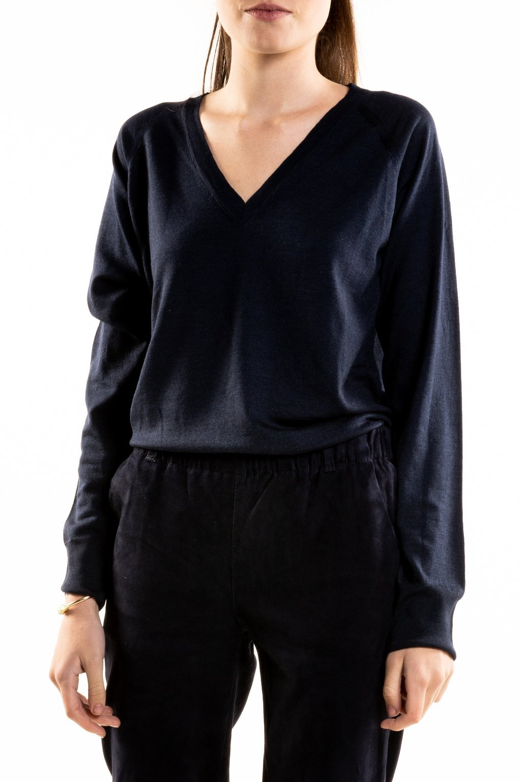 V neck Wool silk Classic Navy