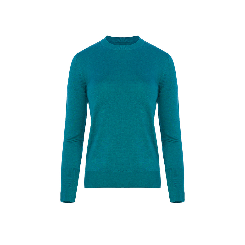 Wool Silk Round Collar Sweater Turquoise