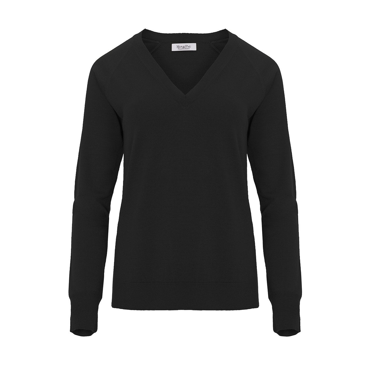 V neck Wool and Silk Black