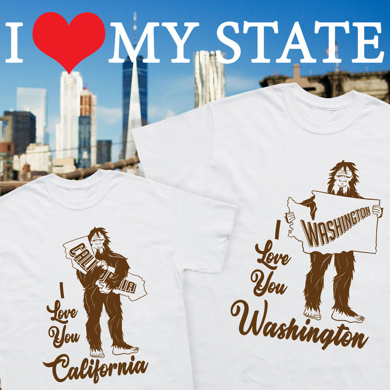 I Love My State Sasquatch Hug T-Shirt - Sasquatch The Legend