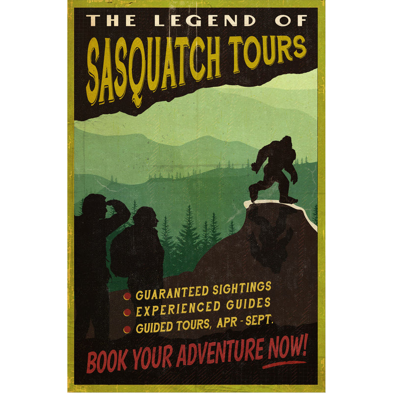 Vintage The Legend of Sasquatch Tours Poster - Sasquatch The Legend