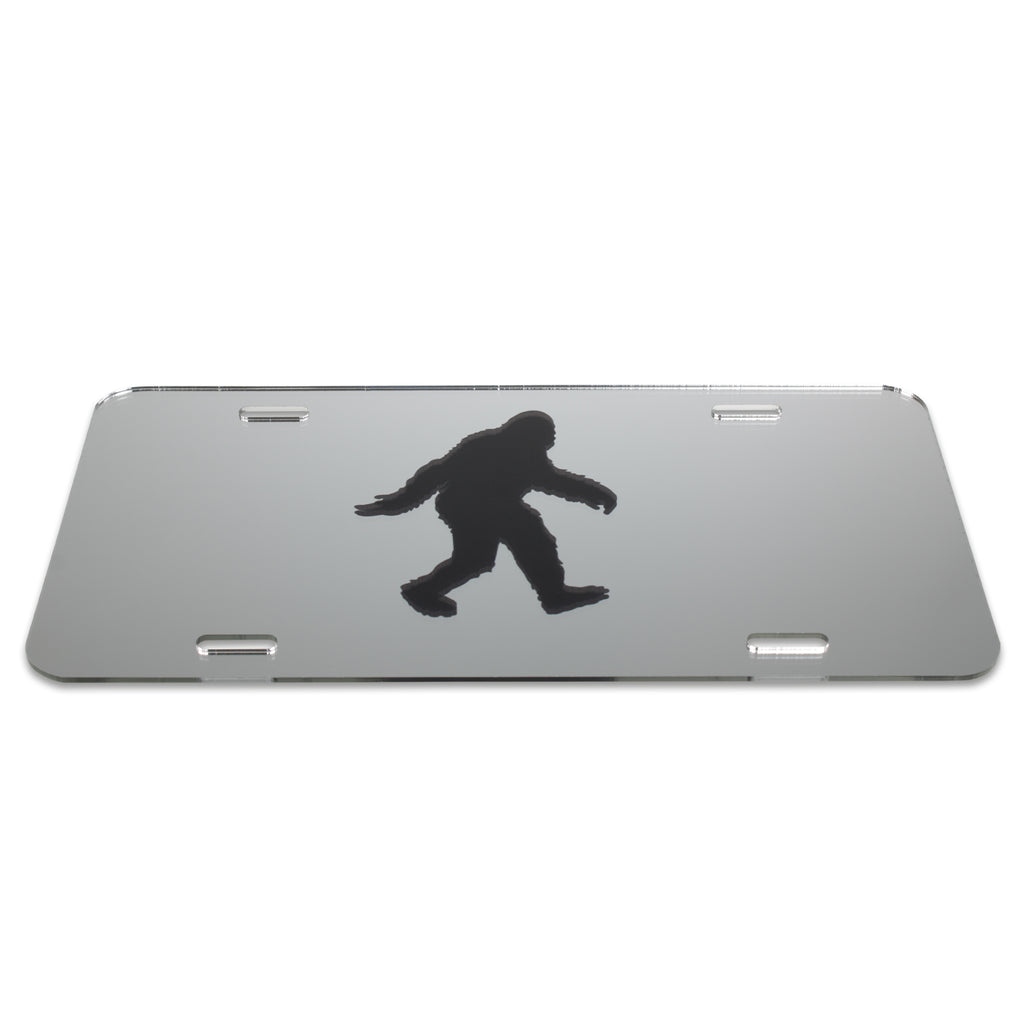 Sasquatch and Bigfoot Acrylic Mirror License Plate for Cars and Trucks - Sasquatch The Legend