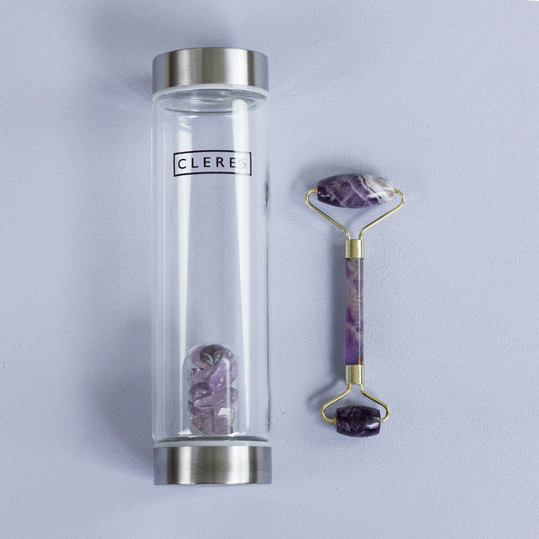Amethyst Stone Bottle + Face Roller Bundle