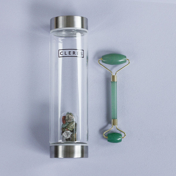 Jade Stone Bottle + Face Roller Bundle