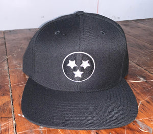 Hats - Black on Black Tri-Star