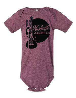 Guitar Mic Est 1779 ONESIE - Heather Maroon Onesie