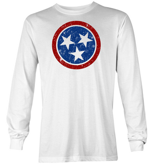 Tri-Star Color - White Long Sleeve Shirt