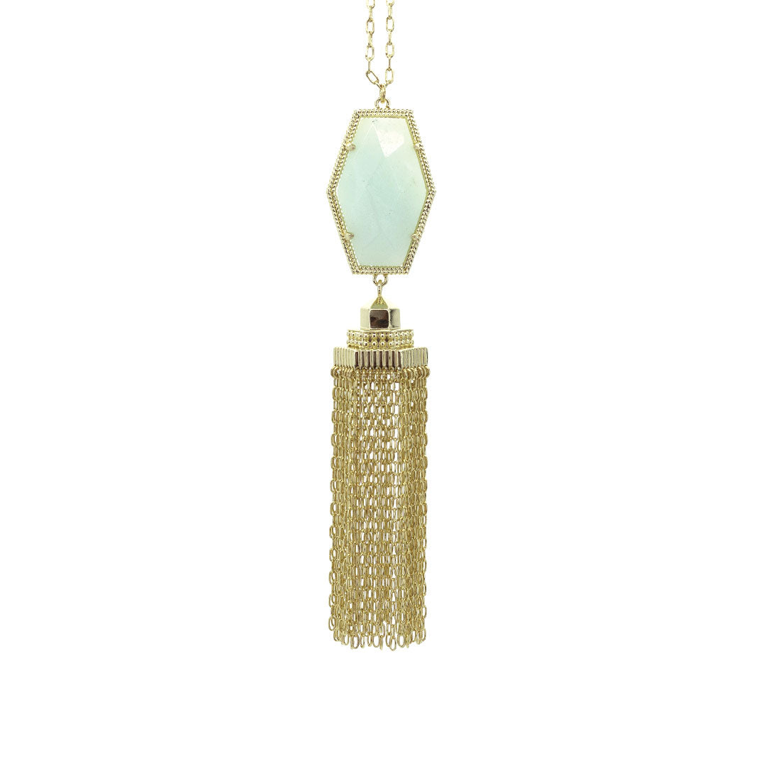 Alexa Tassel Necklace in Amazonite