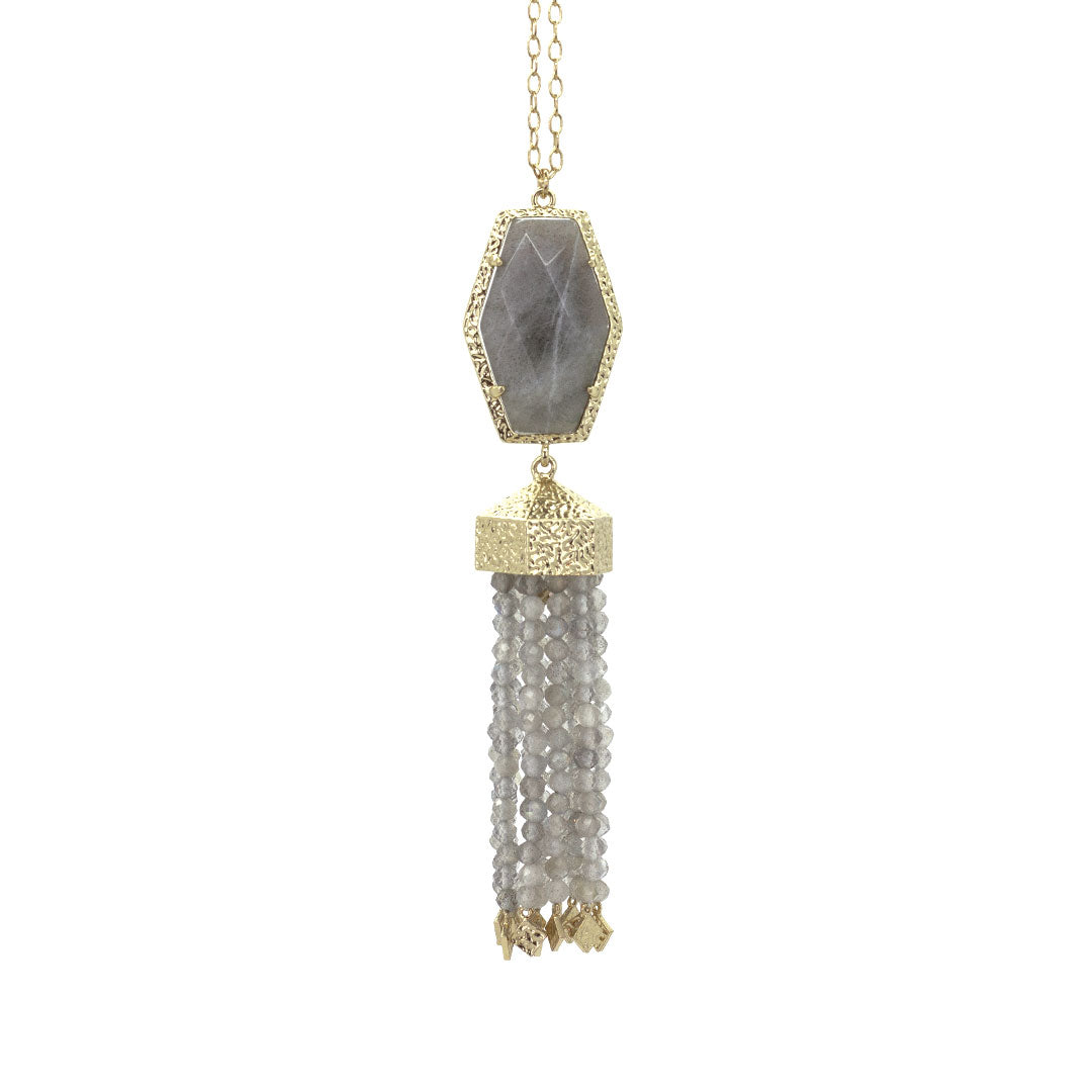 Ariel Tassel Necklace in Labradorite