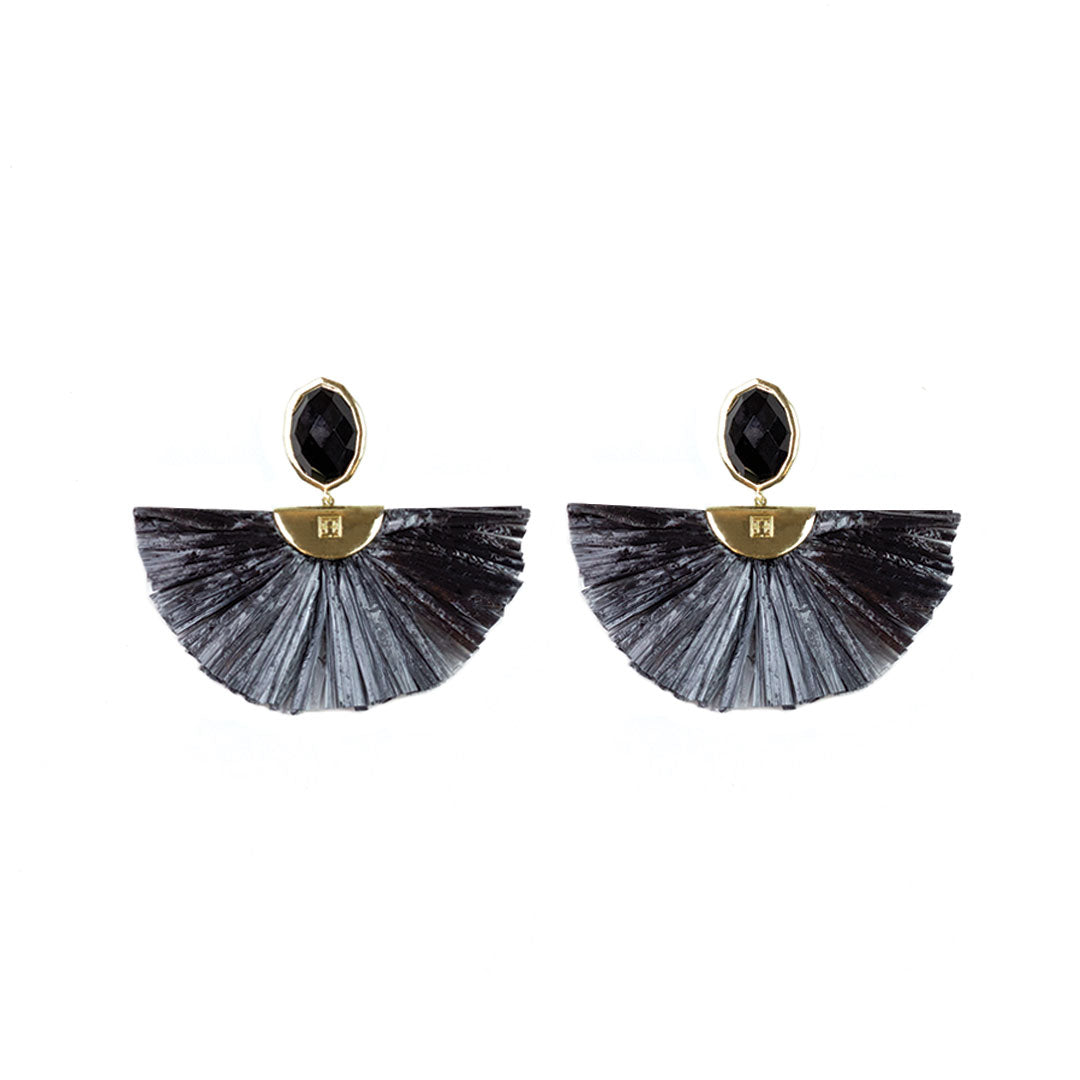 Cara Flutter Earrings in Black Onyx