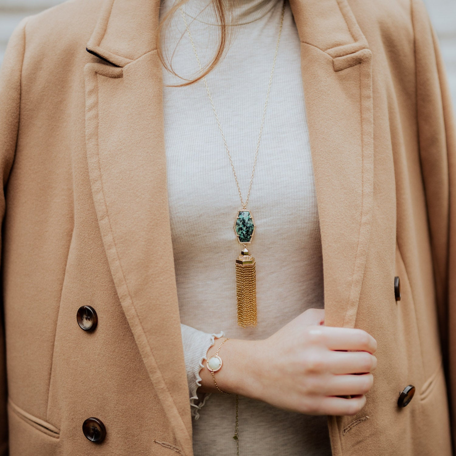 Alexa Tassel Necklace in Rose Quartz