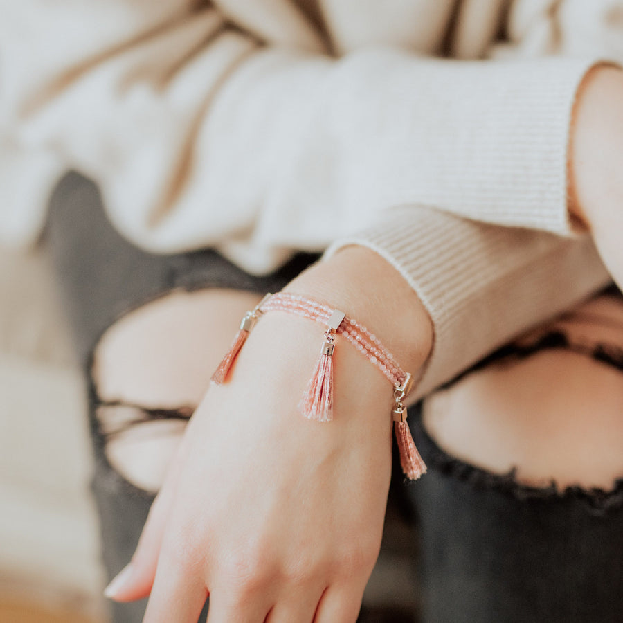 Blake Tassel Bracelet in Rose Quartz