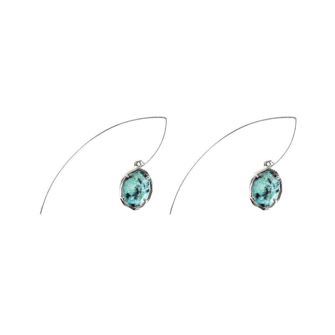 Jada Threaded Stone Earrings in African Turquoise