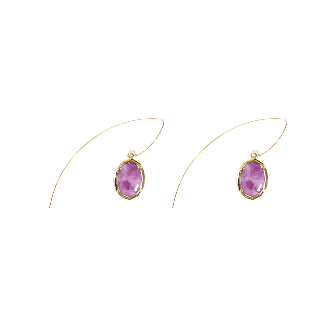 Jada Threaded Stone Earrings in Amethyst
