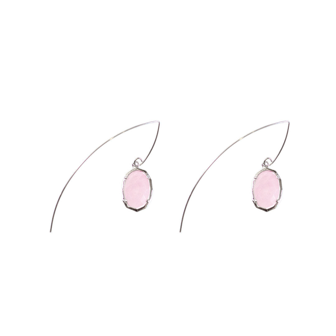 Jada Threaded Stone Earrings in Rose Quartz