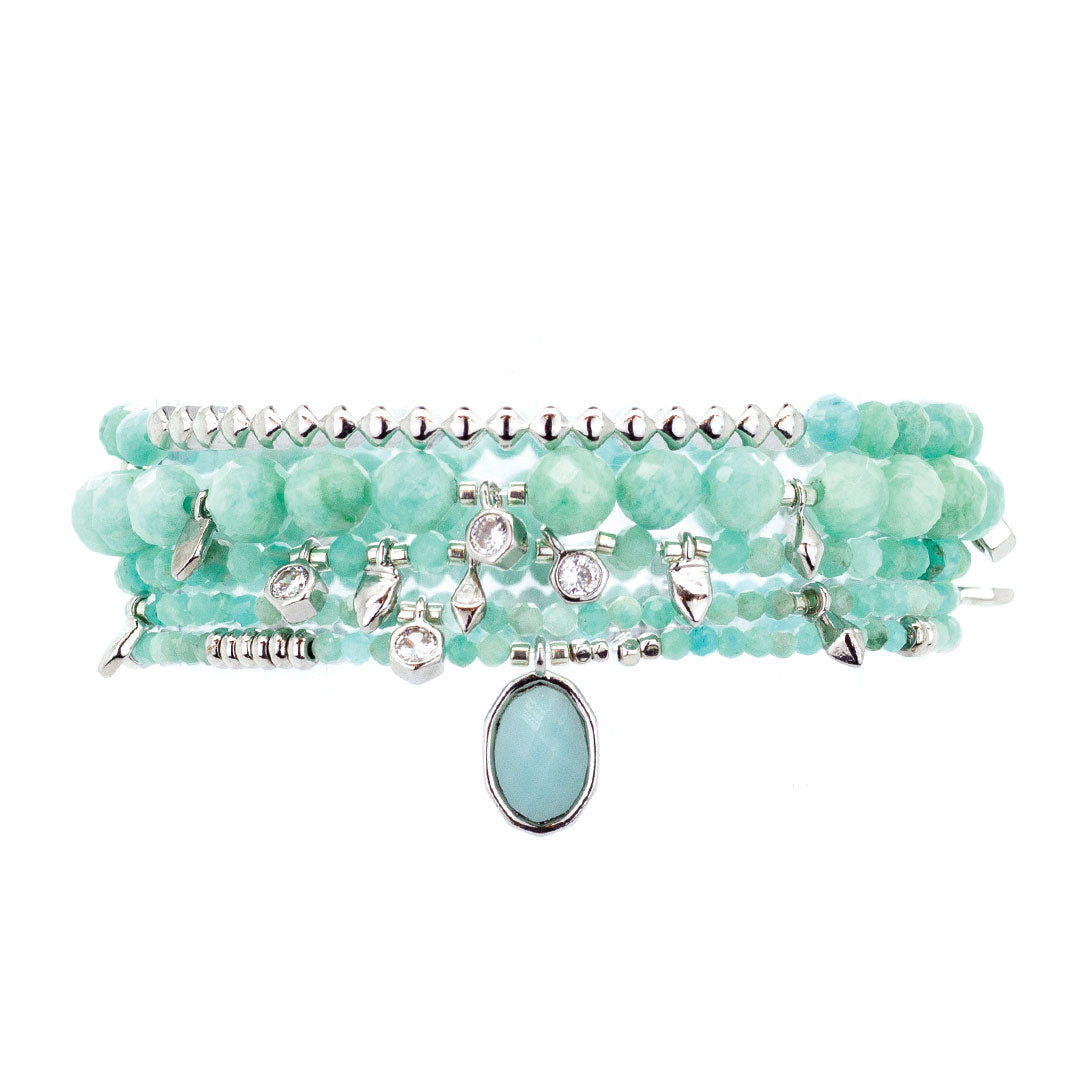 Parker Beaded Bracelet Set in Amazonite - Platinum