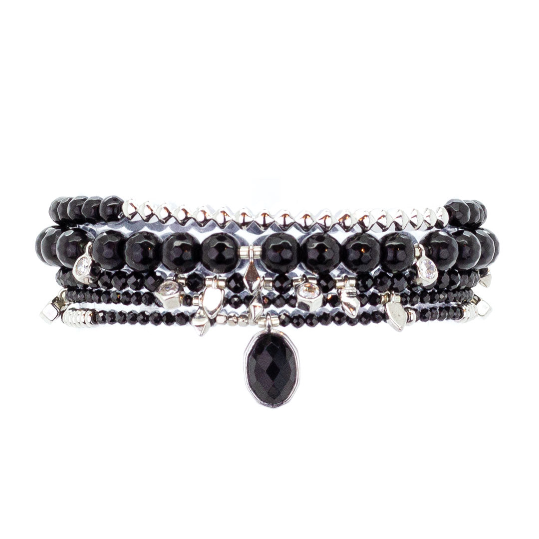 Parker Beaded Bracelet Set in Carbonado - Platinum