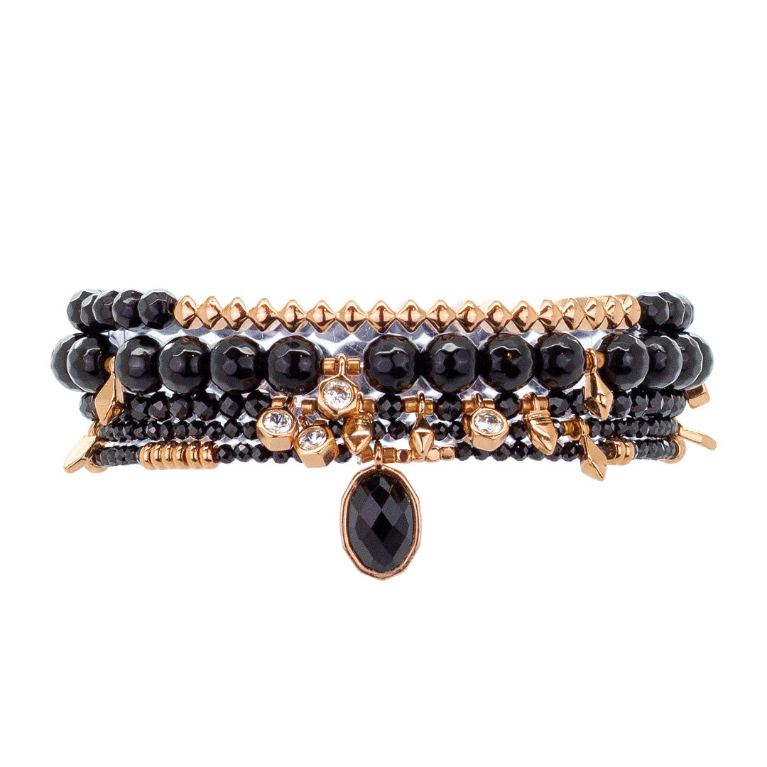 Parker Beaded Bracelet Set in Carbonado - Rose Gold
