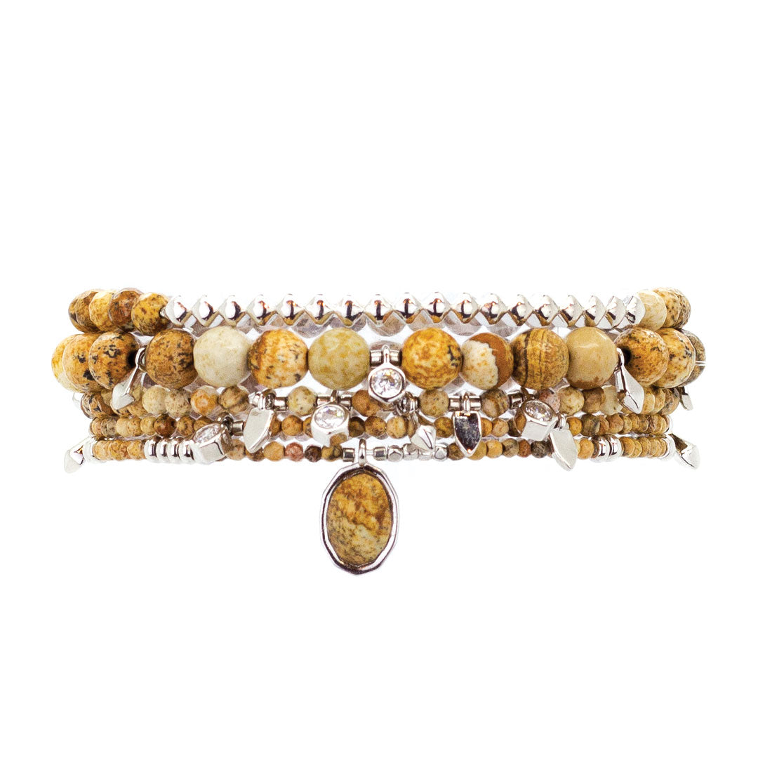 Parker Beaded Bracelet Set in Jasper - Platinum