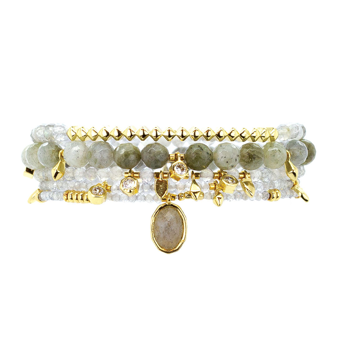 Parker Beaded Bracelet Set in Labradorite - Gold