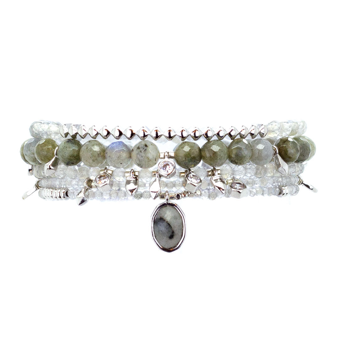 Parker Beaded Bracelet Set in Labradorite - Platinum