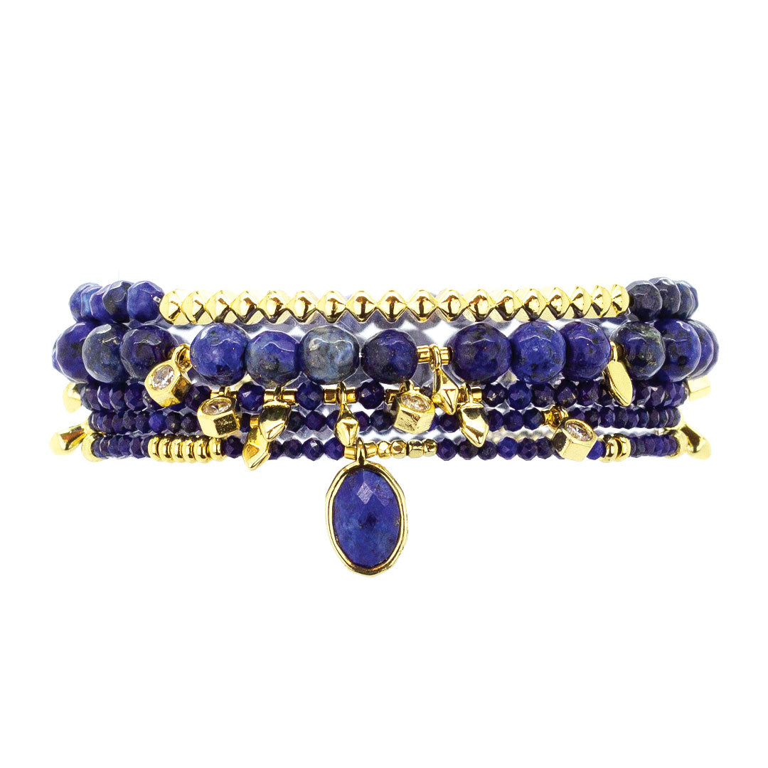 Parker Beaded Bracelet Set in Lapis - Gold
