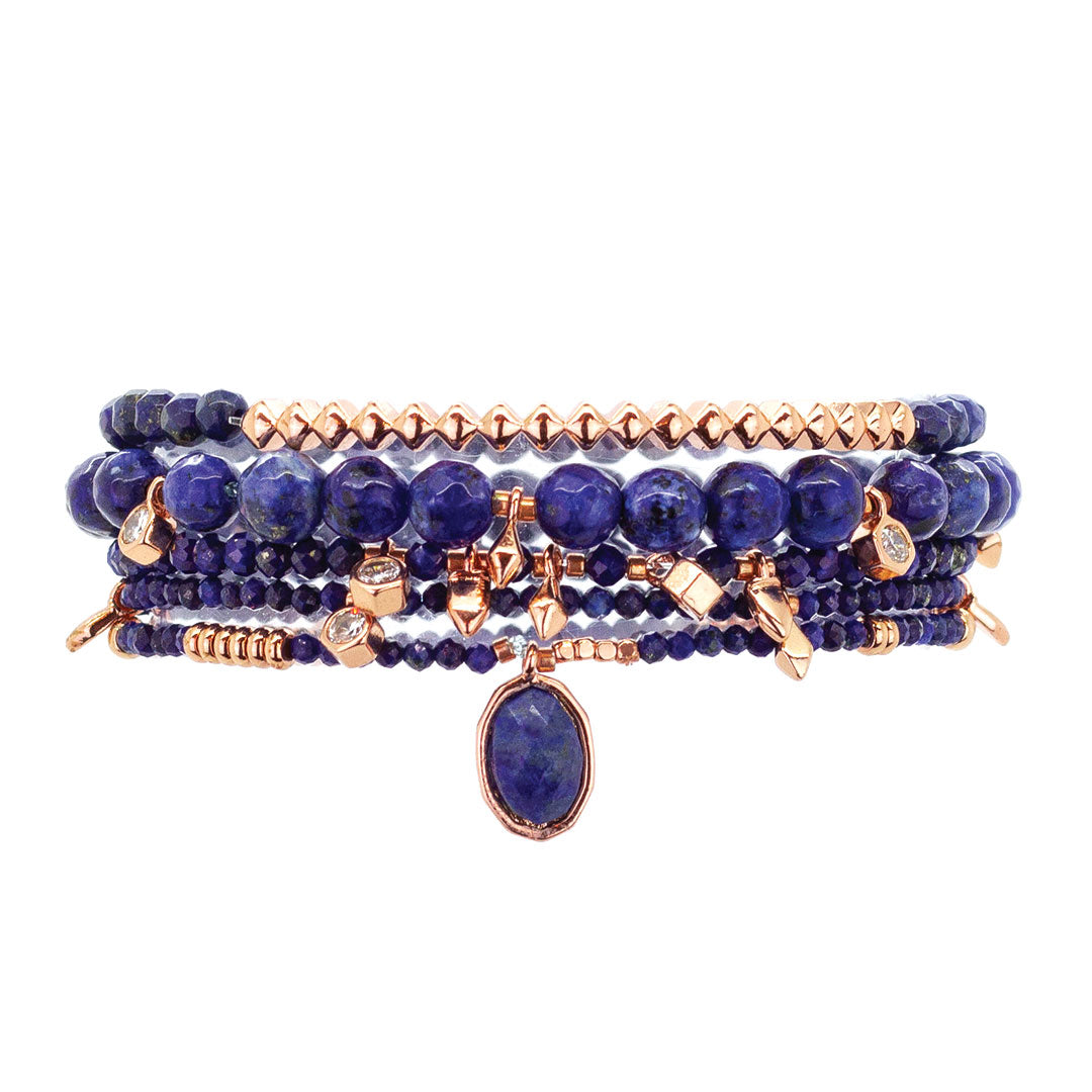 Parker Beaded Bracelet Set in Lapis - Rose Gold
