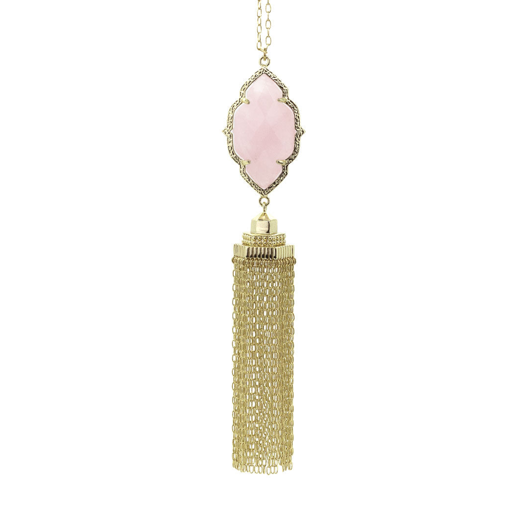 Rory Cascade Necklace in Rose Quartz