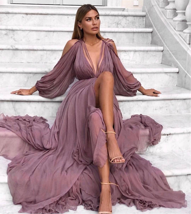 Purple Chiffon Dress - Amelie Baku Couture