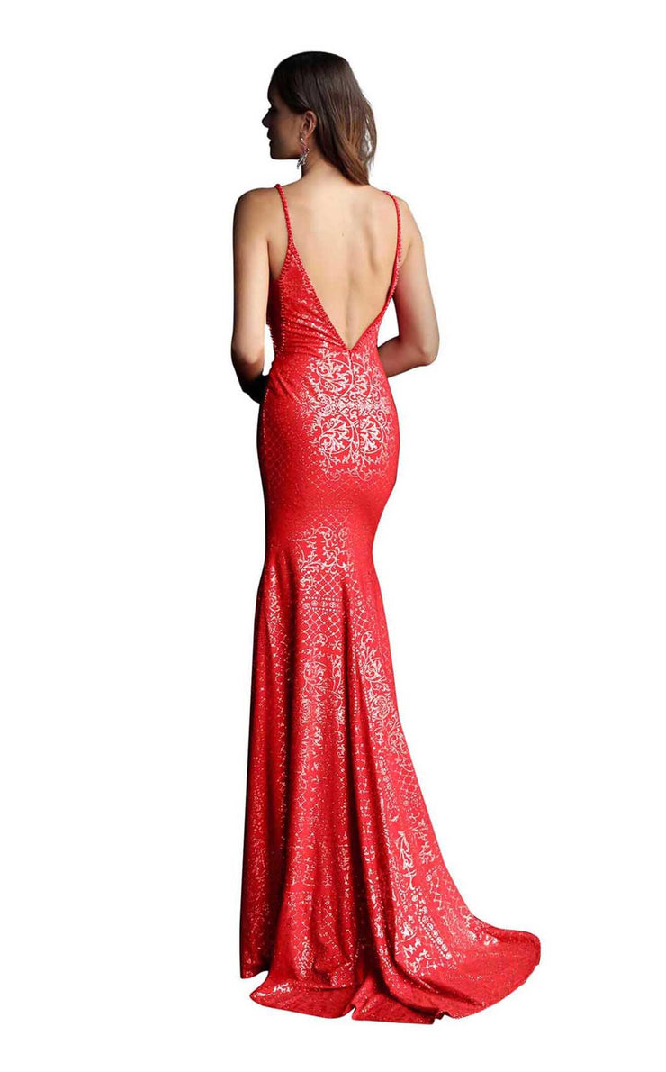Dazzling plunged beaded evening gown