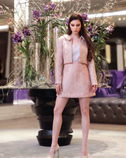 Mid-thigh A-line Skirt & Long Sleeve Jacket Suit - Amelie Baku Couture