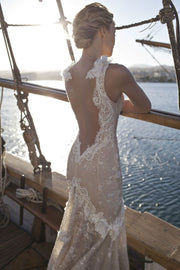 Plunging Neckline Multi-Layered Gown with Lace Detail - Amelie Baku Couture