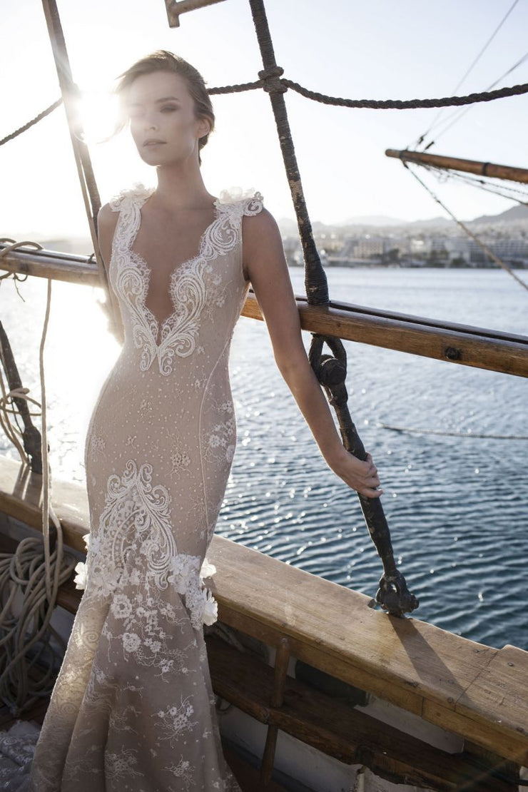 Plunging Neckline Multi-Layered Gown with Lace Detail