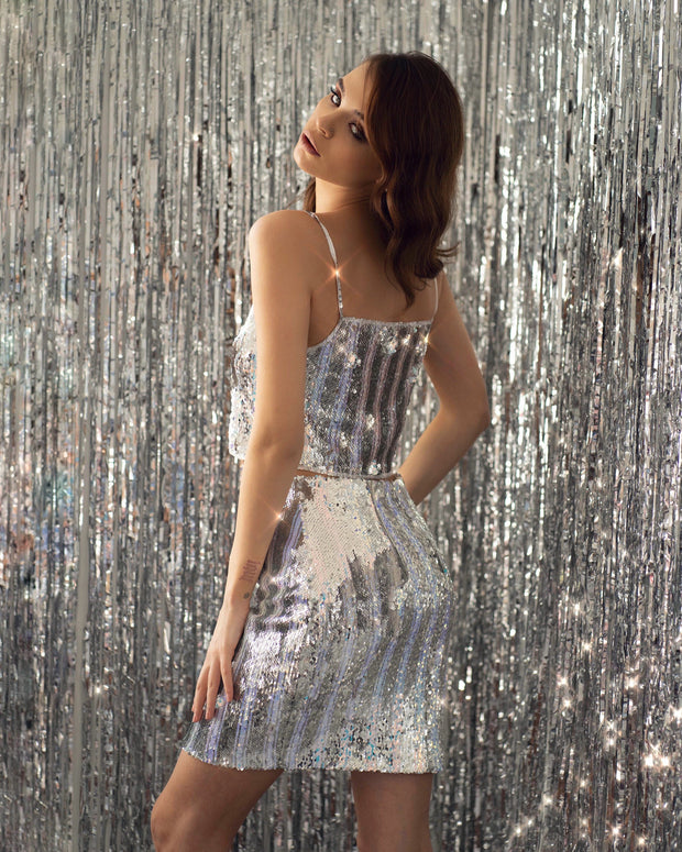 Strapped Sequin Cropped Top with a Skirt - Amelie Baku Couture