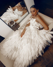 Swan Feather Gown by Amèlie Couture