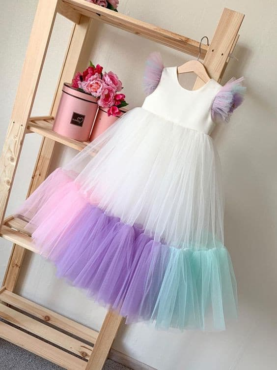 Multi-color tulle dress for girls
