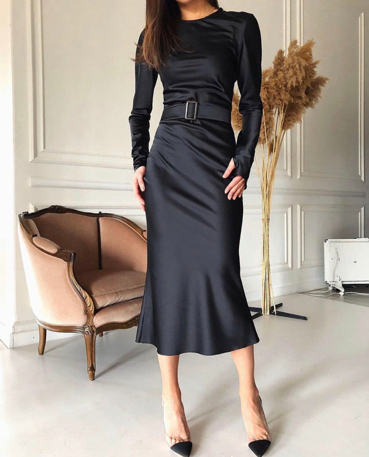 Long sleeve Midi Sateen Dress with belt detail