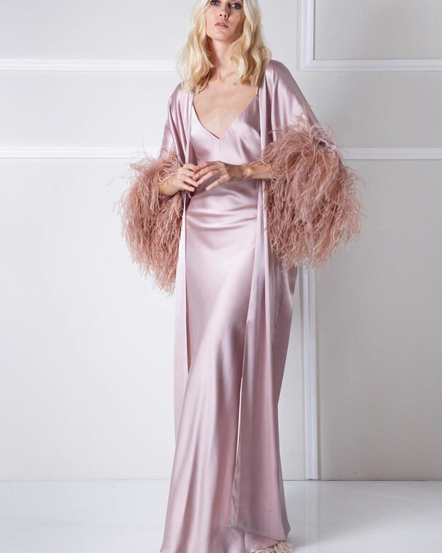 Ostrich Feather Robe and V-Neck Dress - Amelie Baku Couture