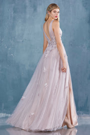 Plunging Crepe Gown - Amelie Baku Couture