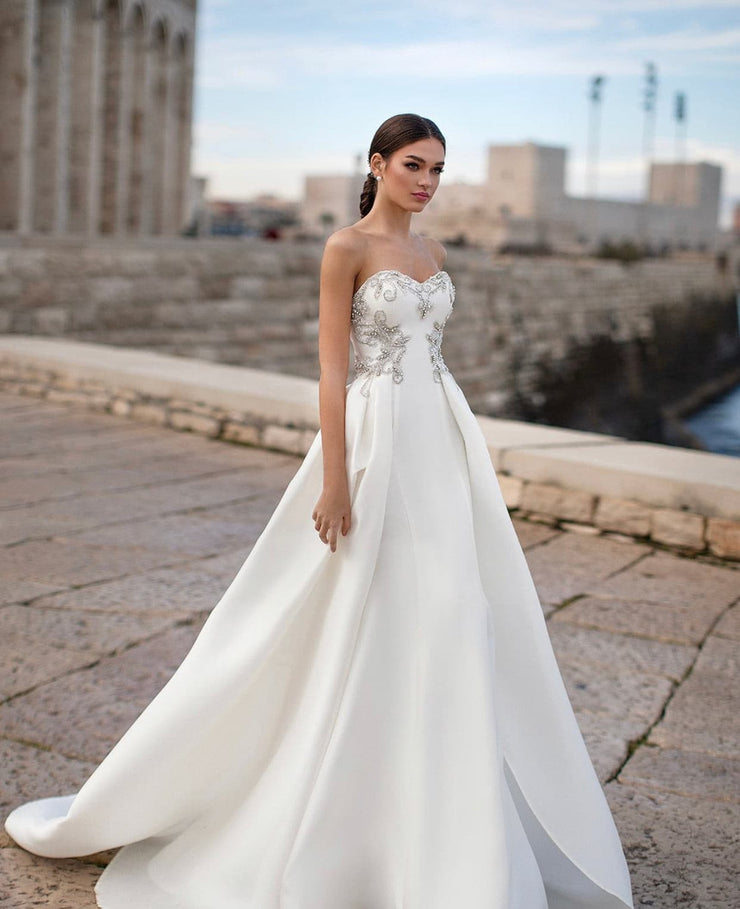 Versatile strapless gown with overskirt - Amelie Baku Couture