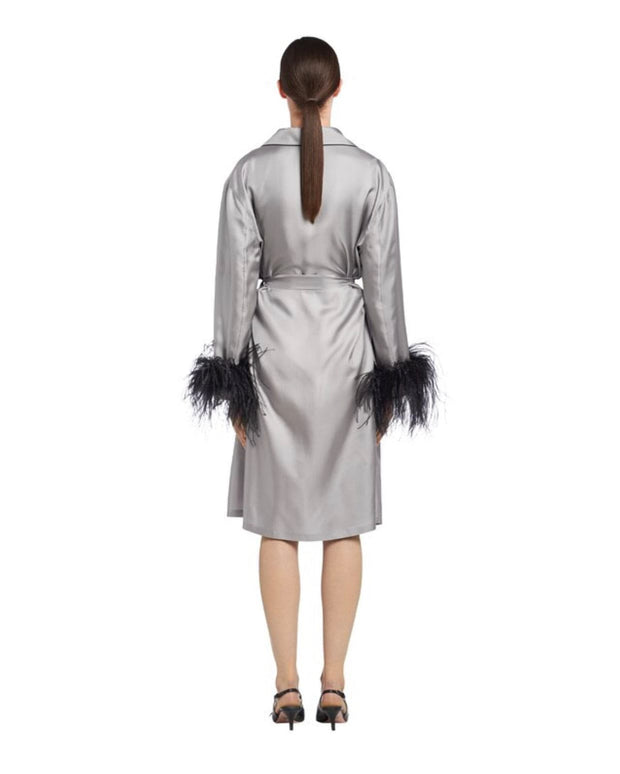 Silk Robe with Feathers - Amelie Baku Couture