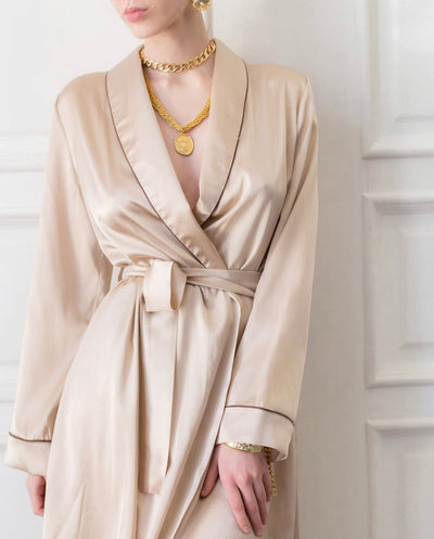 Satin Long Sleeve Robe - Amelie Baku Couture